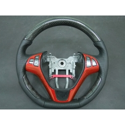 Black&Red Carbon Fiber Cut Steering Wheel